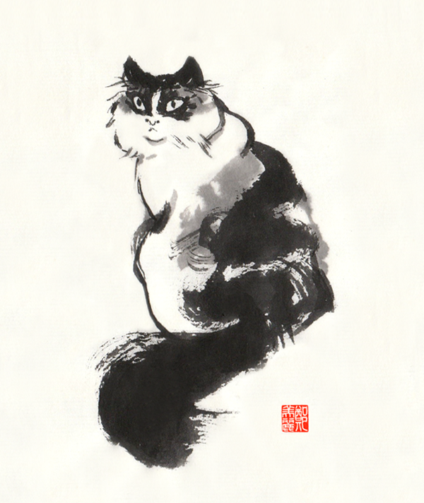 Chinese ink cat