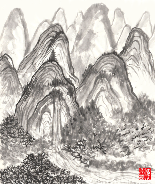 Chinese ink mountain